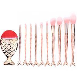 KaiCran 10Pcs Mermaid Beauty Cosmetic Makeup Brush Tool Set