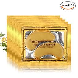 20 Pairs 24K Gold Collagen Eye Mask, Anti-Wrinkle Dark Circl