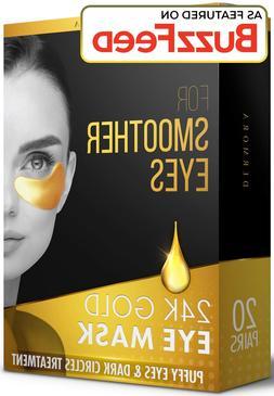 24K Gold Eye Mask? 20 Pairs - Puffy Eyes and Dark Circles Tr