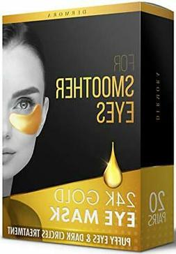 24K Gold Eye Mask–20Pairs-Puffy Eyes and Dark Circles Trea