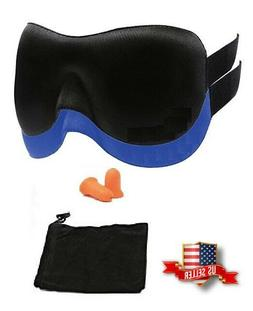 3D Contoured Blackout Sleep Eye Mask with Ear Plugs and Carr