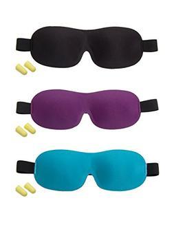 uxcell® Unisex 3D Eyeshade Sleep Mask with Free Earplugs Bl
