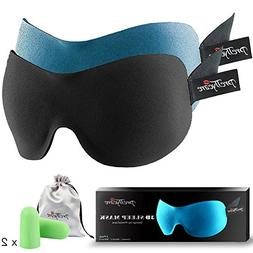 PrettyCare 3D Sleep Mask with 2 Pack Eye Mask for Sleeping -