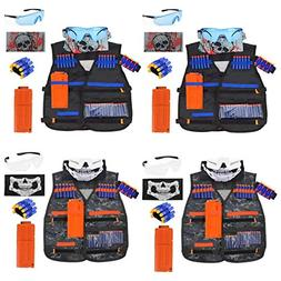 POKONBOY 4 Sets Kids Tactical Vest Kits Compatible with Nerf