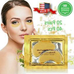40pc 24K Gold Crystal Collagen Eye Mask Patch Gel Wrinkle An