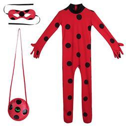 YiZYiF Child Ladybug Girl Costume Marinette Cosplay Jumpsuit