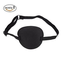 DSSY 8 Pack Adult Kid's Pirate Eye Patch Adjustable Eye Patc