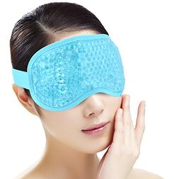 Sleep Eye Mask for Woman Man,Reusable Gel Beads ice Mask wit