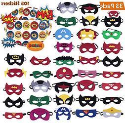 KAIIZAN Superhero Masks 33 Piece Plus 105 Stickers, Eye Mask