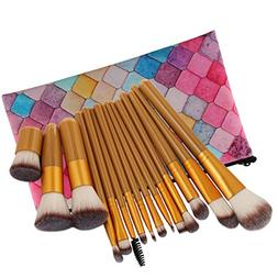 KaiCran 15Pc Makeup Brushes Set Powder Foundation Eyeshadow