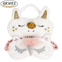 Onshine Unicorn Sleeping Mask 2Pack Cute Unicorn Horn Soft P