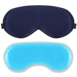 Plemo Sleep Mask, 100% Pure Silk Eye Cover with Reusable Ice