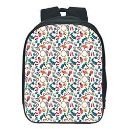 Polychromatic Optional Kids School Backpack,Fitness,Cartoon
