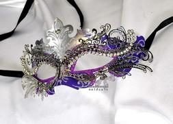 Purple Silver xCrown Laser Cut Venetian Masquerade Mask with