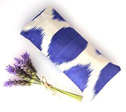 Relaxing Lavender Eye Pillow Uzbek Ikat Silk Blue White Remo