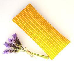 Relaxing Lavender Eye Pillow Uzbek Ikat Silk Bright Yellow R
