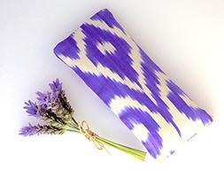 Relaxing Lavender Eye Pillow Uzbek Ikat Silk Purple White Re