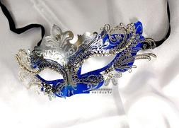 Silver Blue xCrown Laser Cut Venetian Masquerade Mask with R