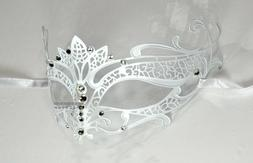 White Elegant Tiara Laser Cut Venetian Masquerade Mask with