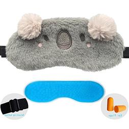 ZHICHEN Silk Eye Mask with Lovely 3D Cute Koala Face Soft &