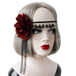 Ztl Sexy Women's Lace Veil Masquerade Red Rose Eye Cover Hal