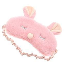 Adorable Plush Rabbit Sleeping Eye Mask Soft Padded Travel E