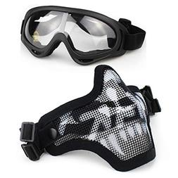 Aoutacc Airsoft Half Face Masks and Goggles Set with Skull S