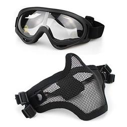 Aoutacc Airsoft Mask and Goggles Set, Half Face Full Steel M