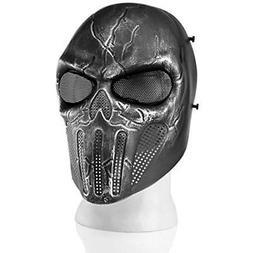 Airsoft Paintball Mask Full Face Skull Skeleton Metal Mesh E