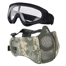 Aoutacc Airsoft Protective Gear Set, Half Face Mesh Masks wi