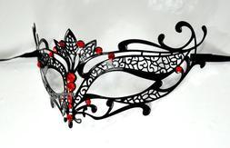 Black Elegant Tiara Laser Cut Venetian Masquerade Mask with