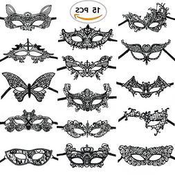 15PCS Black Lace Venetian Masquerade Mask Sexy Woman Mask fo