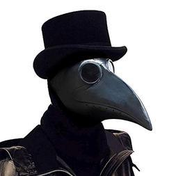 PartyCostume - Black Plague Doctor Mask - Long Nose Bird Bea