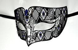Black Men Plated Laser Cut Venetian Masquerade Mask with Blu