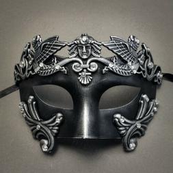 Black Silver Men's Masquerade Mask Costume Venetian Greek Wa