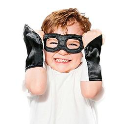 Black Superhero Eye Mask and Powerbands - Kids
