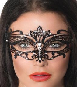 Black Tiara Laser Cut Venetian Masquerade Mask with Rhinesto