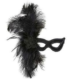 Black Velour Eye Mask Eyemask With Rose & Large Feathers Mas