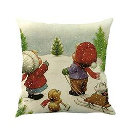 Christmas Printing Dyeing Sofa Bed Home Decor Pillow Cover C