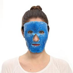 Hot and Cold Therapy Gel Bead Velvet/PVC Facial Eye Mask, Ho