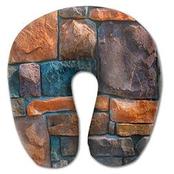 Beto Home Colorful Stone Wall U Shaped Travel Neck Pillow Po