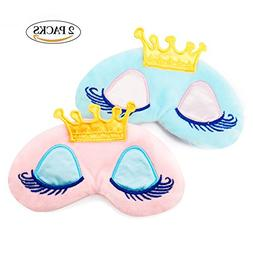 Nipoo 2 Pcs Cute Girl Eye Mask Cover for Sleeping, Princess
