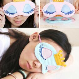 Cute Girl 3D Padded Blindfold Eye Mask Soft Travel Sleep Aid