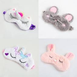 Cute Girl Rabbit Eye Mask Soft Pad Sleep Travel Shade Cover
