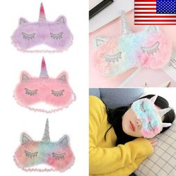 Cute Kid Girl Unicorn Eye Mask Cover Sleep Mask Blindfold Tr