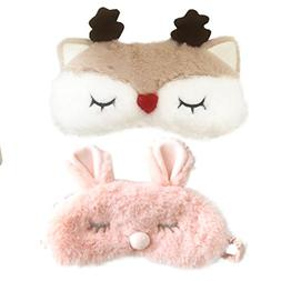 Cute Pink Rabbits&Reindeer Horn Soft Plush Blindfold Eye Co