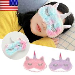 Cute Sleep Unicorn Mask Eye Shade Cover for Girl Kid Teen Bl