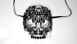 Men Devil Skull Laser Cut Venetian Masquerade Mask with Rhin
