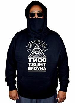Men's Don't Trust Anyone Illuminati eye Black Mask Hoodie Sw