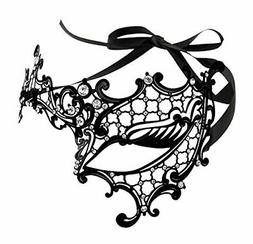 Maskette Exquisite One Eye Filigree Mask Rhinestones Hallowe